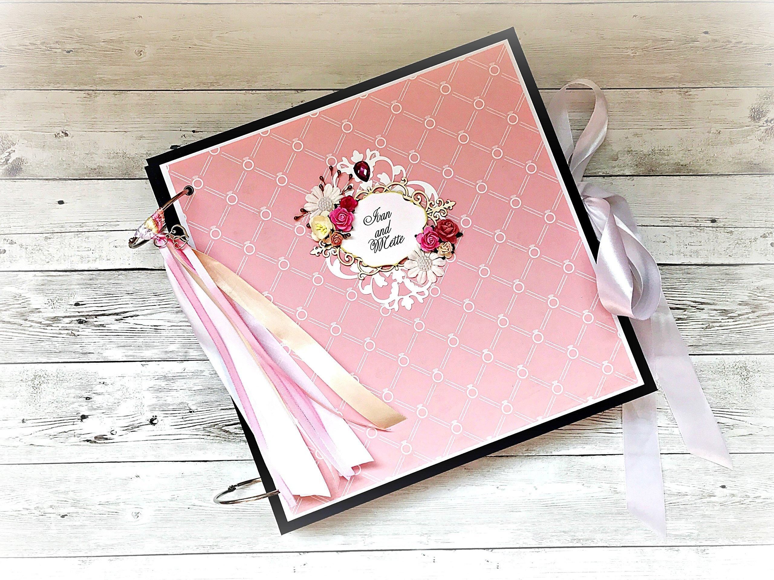 Kristabella Creations 12x12 2 wedding scrapbook album, Large photo album, Wedding gift, 20 inner pages, metal rings binder