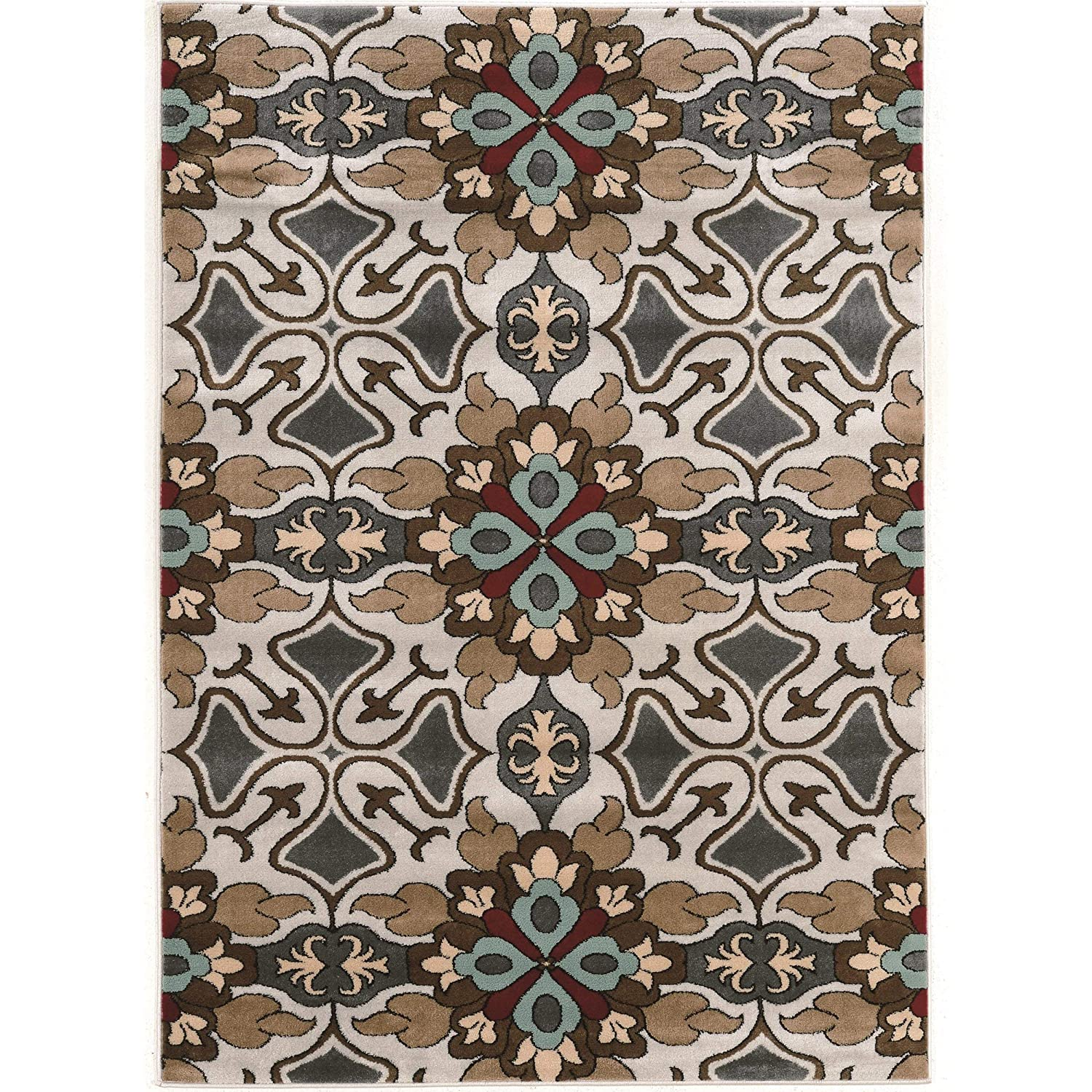 Gray Linon Elegance Collection Flowers Light Synthetic Rugs 2 x 3