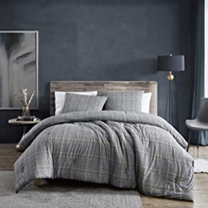 Kenneth Cole New York| Sussex Flannel Collection| Comforter Set- 100% Cotton Ultra Soft, All Season Bedding, Pre-Washed for Added Softness, King, Black