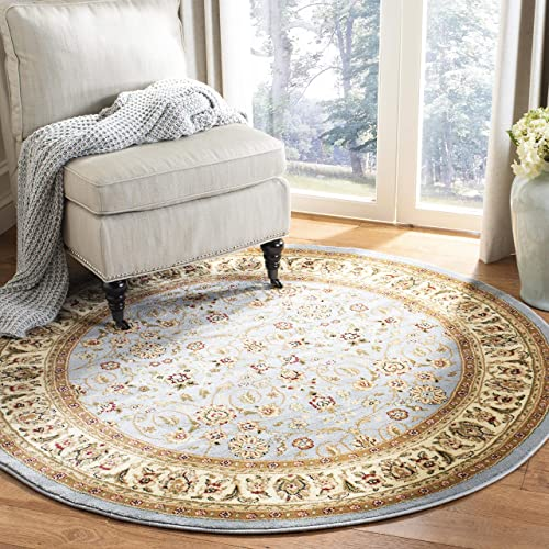 Safavieh Lyndhurst Collection LNH312B Traditional Oriental Light Blue and Ivory Round Area Rug 8' Diameter
