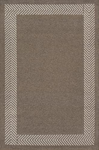 Momeni Rugs Mesa Collection, 100 Wool Hand Woven Flatweave Transitional Area Rug, 8 x 10 , Natural Brown