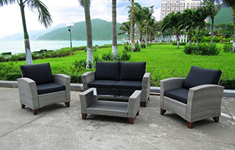 WEATHERPROOF Outdoor Patio 4 Piece Furniture Set, All Weather Wicker: GREY