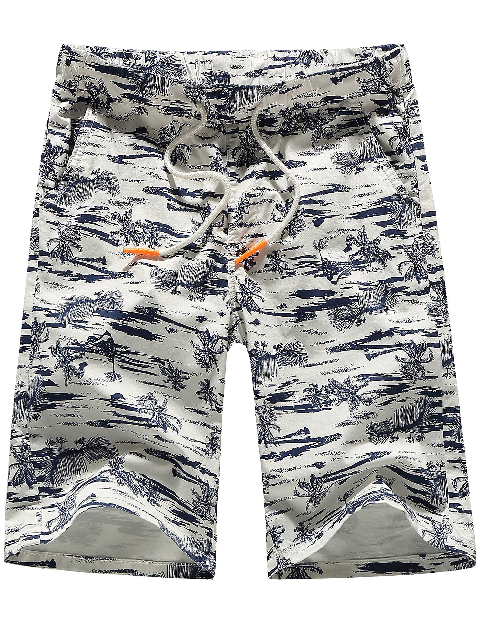 SSLR Men's Flat Front Hawaiian Casual Drawstring Board Shorts (34, White) by SSLR (Image #1)