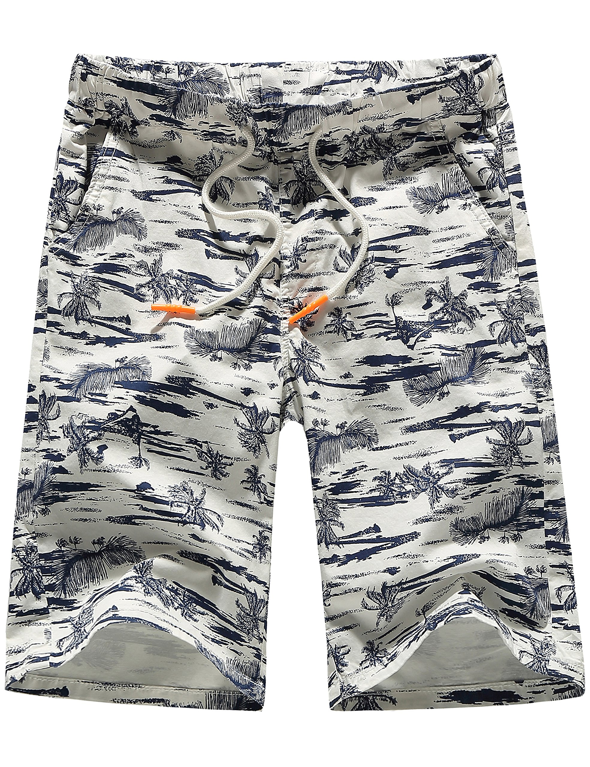 SSLR Men's Flat Front Hawaiian Casual Drawstring Board Shorts (34, White)