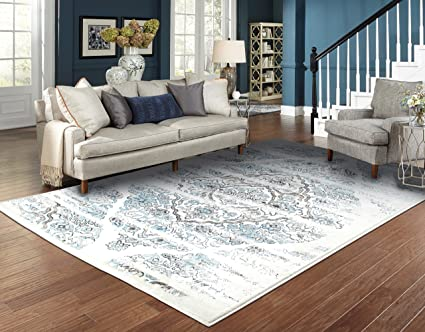 Amazon Com Luxury Distressed Cream Area Rugs For Living Room 5x7