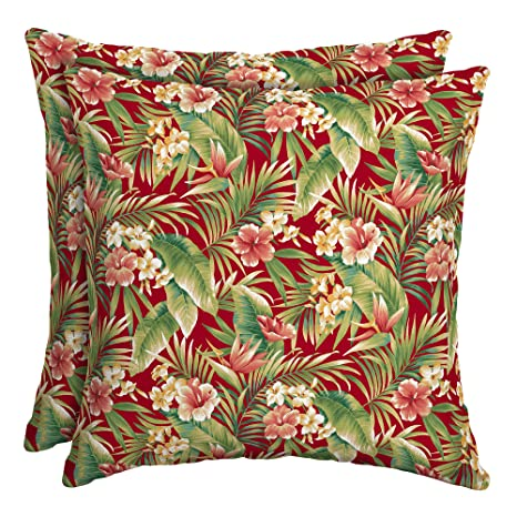 Amazon Com Mainstays Red Tropical Outdoor Toss Pillow Outdoor