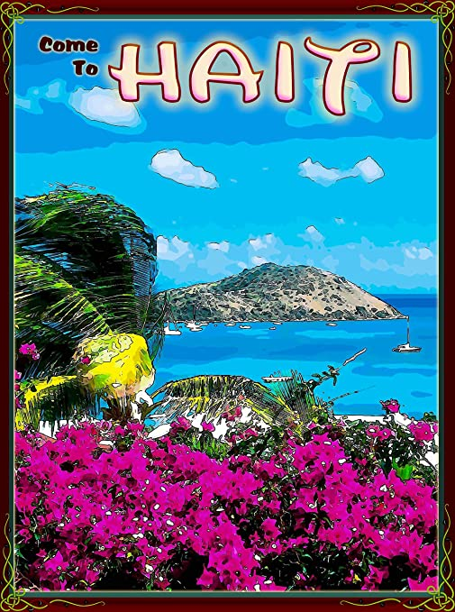 Come To Haiti Caribbean Island Sea Girl Vintage Travel Advertisement Art Poster