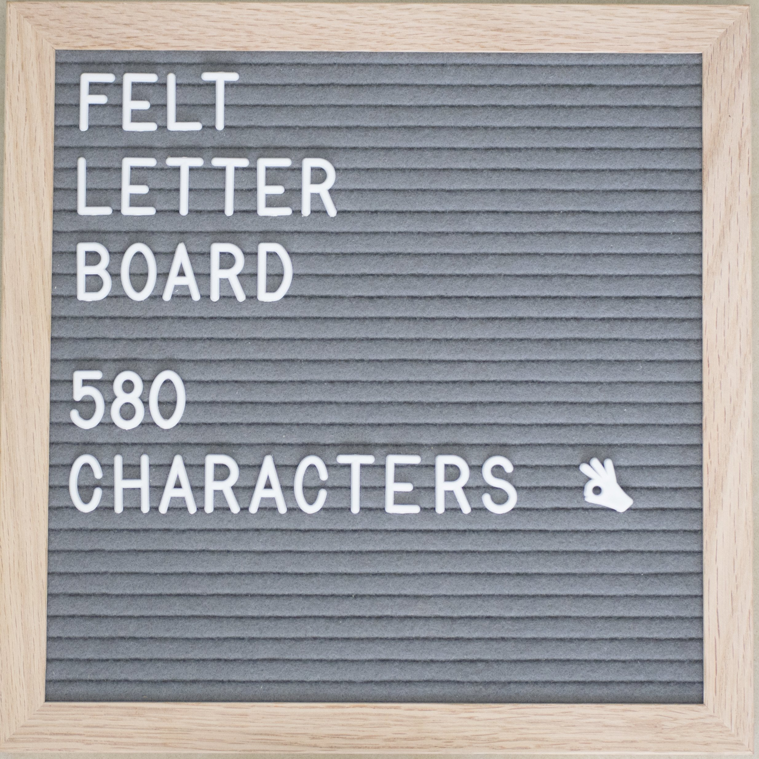 Walking Duck Letter Board - Gray 10x10 inch Felt Board with Oak Wood Frame and 580 Peg on White Letters, Numbers, Symbols, Emojis - Changeable Characters for Creative DIY Messages - Incl. Accessories