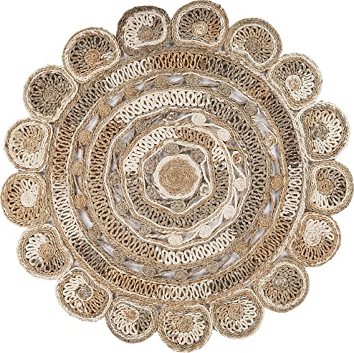 LR Home Daisy Geometric Multicolored Boutique Jute Rug, Bleach Natural, 4 Round