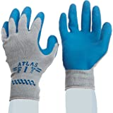 SHOWA Atlas 300 Fit Palm Coating Natural Rubber Glove, Blue, Large (Pack of 12 Pairs)