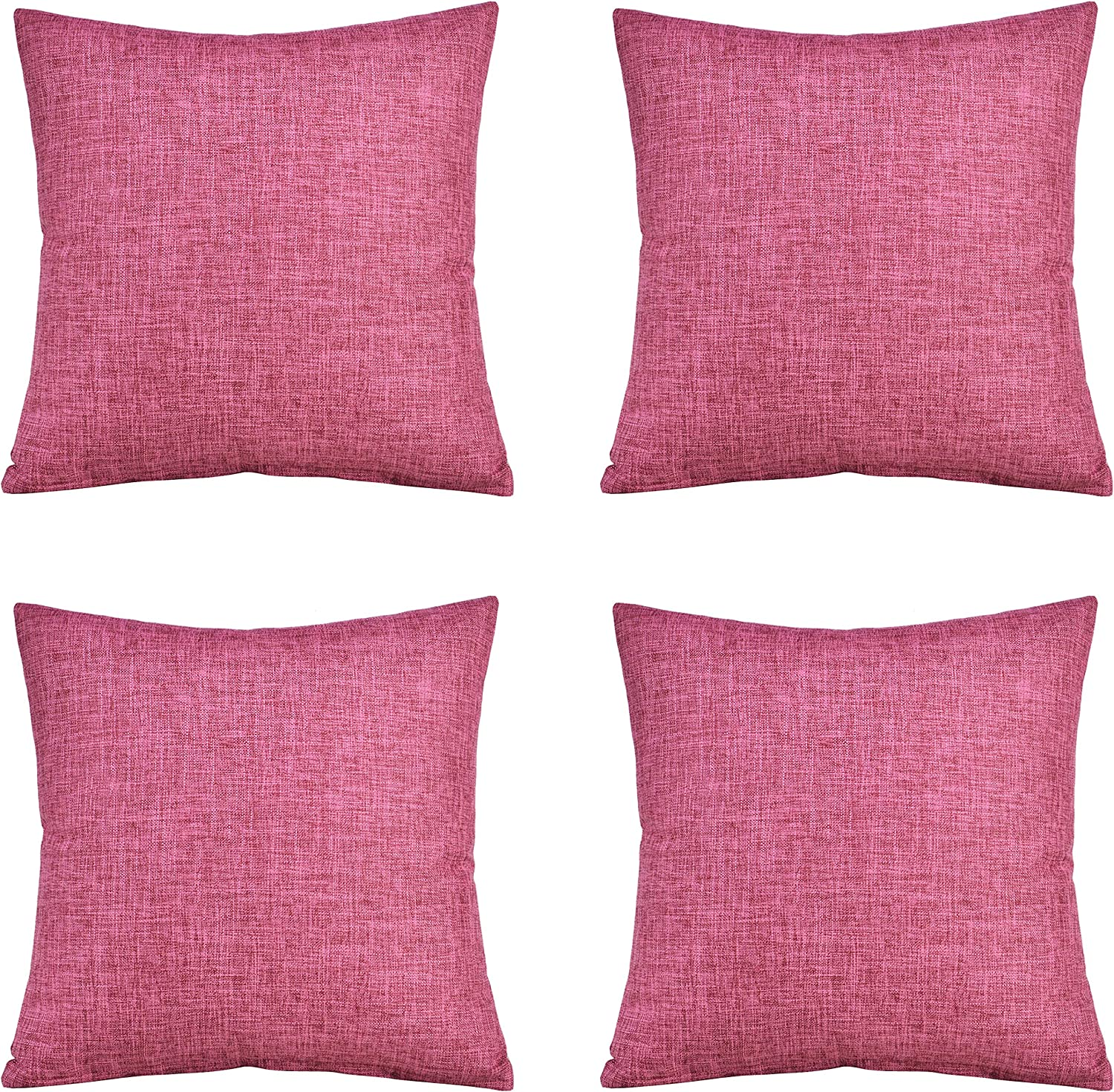 00A-Purple Tennove 4 Pack Pillow Covers Cotton Linen/Throw Pillow Case Decorative Pillow Cover Square Cushion Cover for Sofa,Bed 18X18