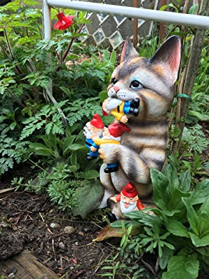 Image: Mischievous Cat Massacre | By Mark and Margot | Mischievous Cat Garden Gnome Statue Figurine | Best Art Décor for Indoor Outdoor Home Or Office