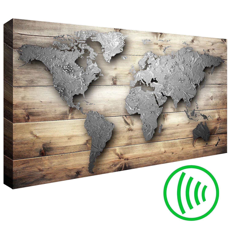 decomonkey Akustikbild 90x60 cm Pinnwand Weltkarte Leinwand Wandbilder als Korktafel Korkwand nutzbar Wandbilder XXL Schallschlucker Schallschutz Akustikdämmung leise Landkarte Karte Reise