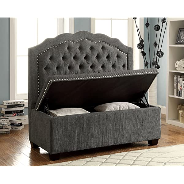 Furniture of America Adia Romantic Wingback Love Seat Chair, Gray