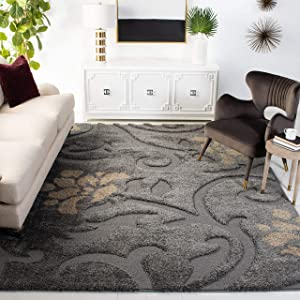 "Safavieh Florida Shag Collection SG464-8013 Floral Textured 1.18-inch Thick Area Rug, 5' 3"" x 7' 6"", Grey/Beige"
