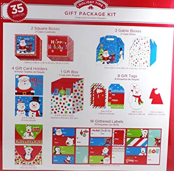 35 Piece Snowman Glittered Christmas Gift Package Kit with Boxes Gift Tags and Labels