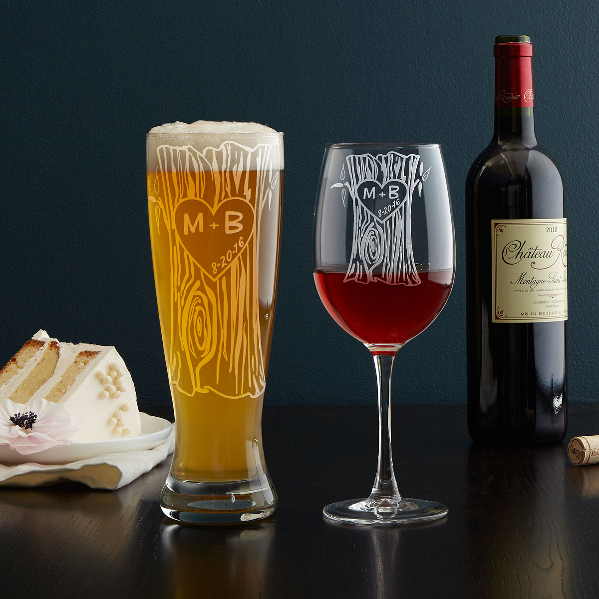 Personalized Tree Trunk Glassware Duo | etched, custom pint glass, wine glass | UncommonGoods