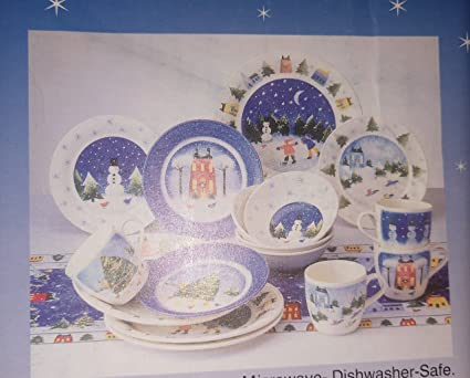 Nikko fine Tableware Winter Wonderland 16pc service for 4 Christmas Holiday Dinnerware Set & Amazon.com | Nikko fine Tableware Winter Wonderland 16pc service for ...