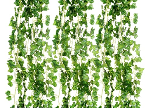 AlphaAcc 72 FEET-12 Big Value Artificial Hanging Plant Green Leaves Ivy Garland Wall Decoration Silk Foliage Wedding Vines