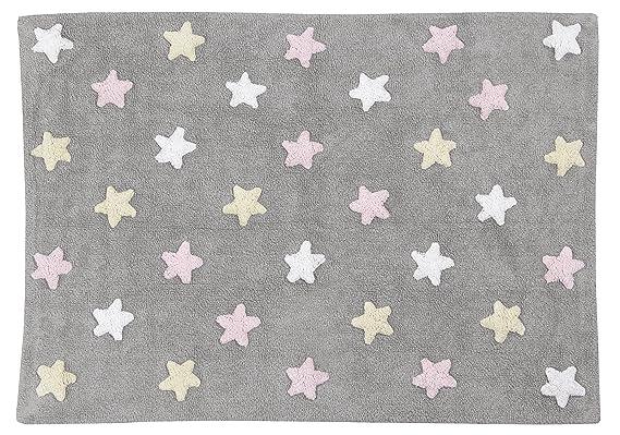 Alfombra lavable Lorena Canals con diseño de estrellas tricolor (gris/rosa): Amazon.es: Bebé
