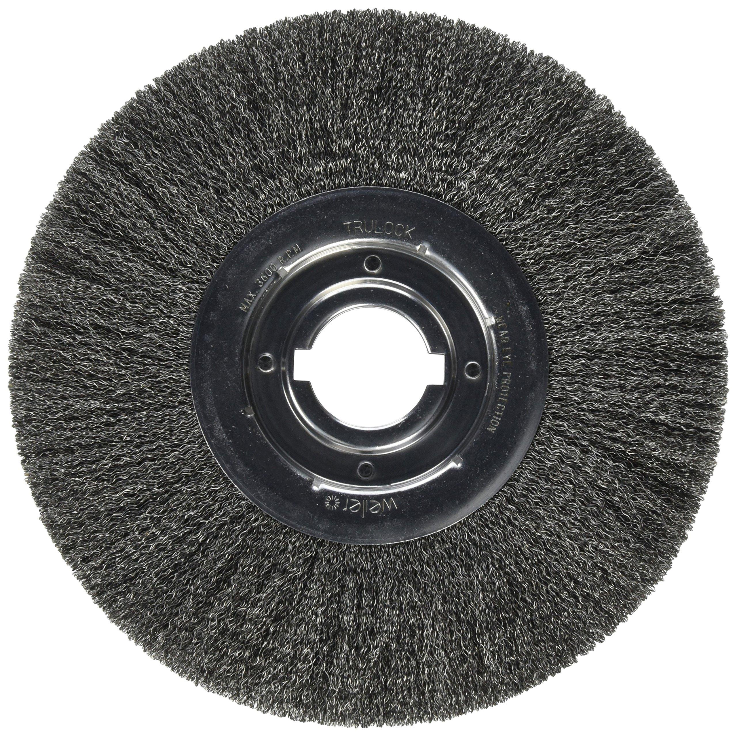 Weiler 804-06190 Trulock Medium Face Crimped Wire Wheel, 12'' Diameter x 1 1/4'' Width, 2'', 0.014'' Steel, 3600 RPM