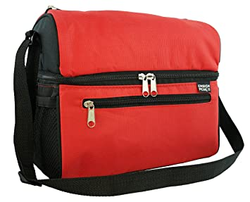 insulated cooler bag red