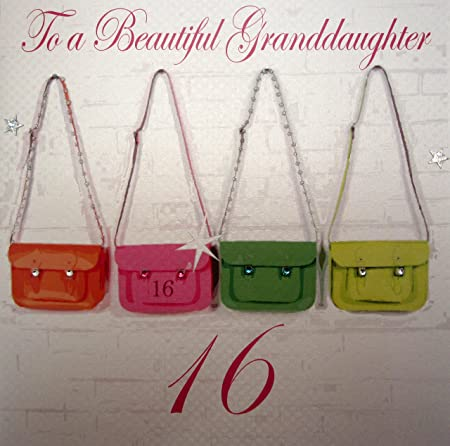 WHITE COTTON CARDS To A Beautiful Granddaughter Handmade Large 16th Birthday Card Neon Satchels Amazoncouk Kitchen Home