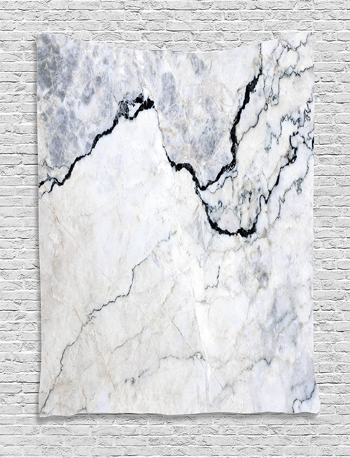 Marble Textured Smooth Details Cracked Dimension Stone Smooth Elegance Image Ambesonne Apartment Decor Tapestry by 60WX80L Inches Wall Hanging for Bedroom Living Room Dorm Grey