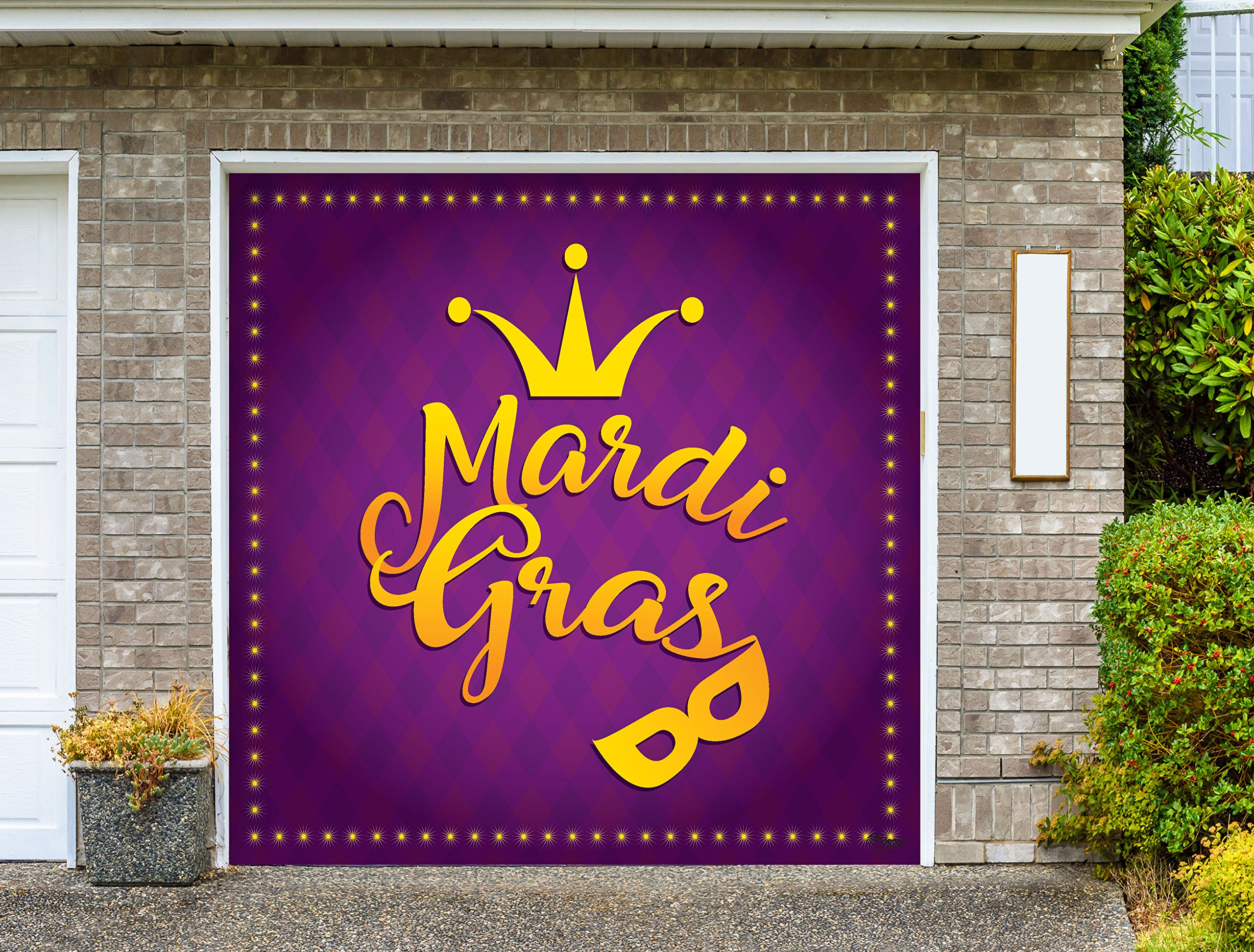 Outdoor Mardi Gras Decorations Garage Door Banner Cover Mural Décoration 8'x8' - Mardi Gras Crown and Mask - ''The Original Mardi Gras Supplies Holiday Garage Door Banner Decor''