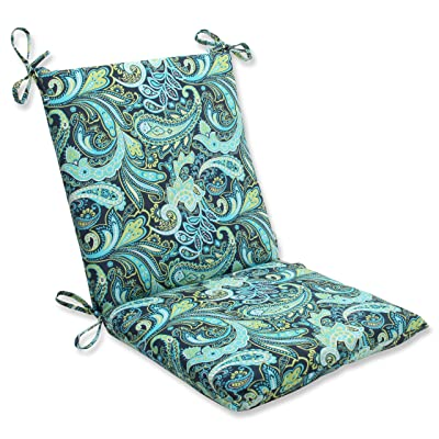 Pillow Perfect Outdoor Pretty Paisley Squared Corners Chair Cushion, Navy: Home & Kitchen