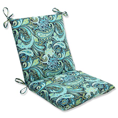 Pillow Perfect Outdoor Pretty Paisley Squared Corners Chair Cushion, Navy