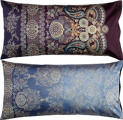 Bassetti Gran Paradiso V3 Funda de cojín, algodón, Azul, 40 x 80 cm