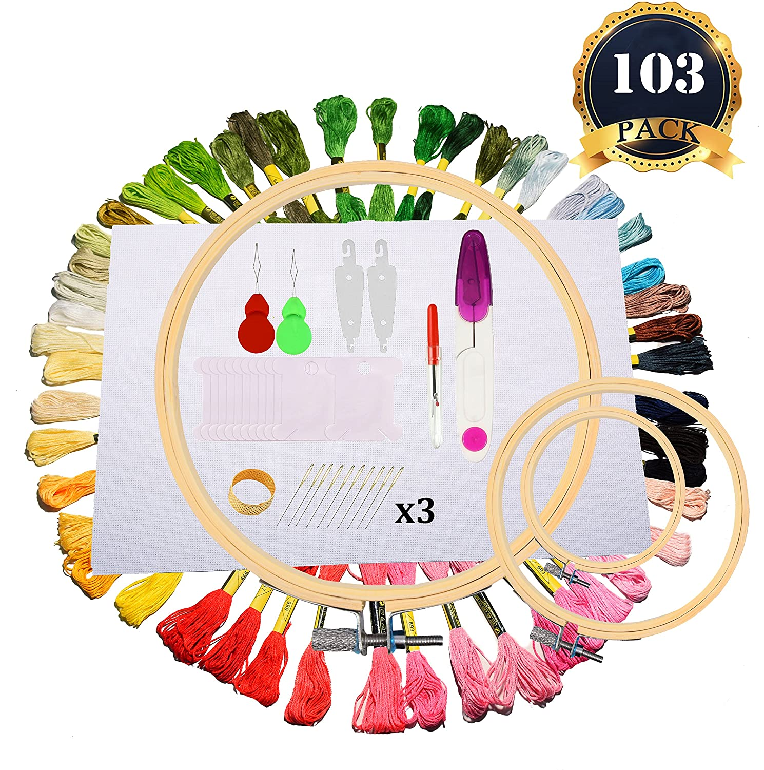 Full Range of Embroidery Starter Kit- 3 Pieces Bamboo Embroidery Hoops, 50 Color Threads, 1 Piece 12 by 18 Inch 14 Count Classic Reserve Aida Cloth and Cross Stitch Tool Kit COMEMAKA