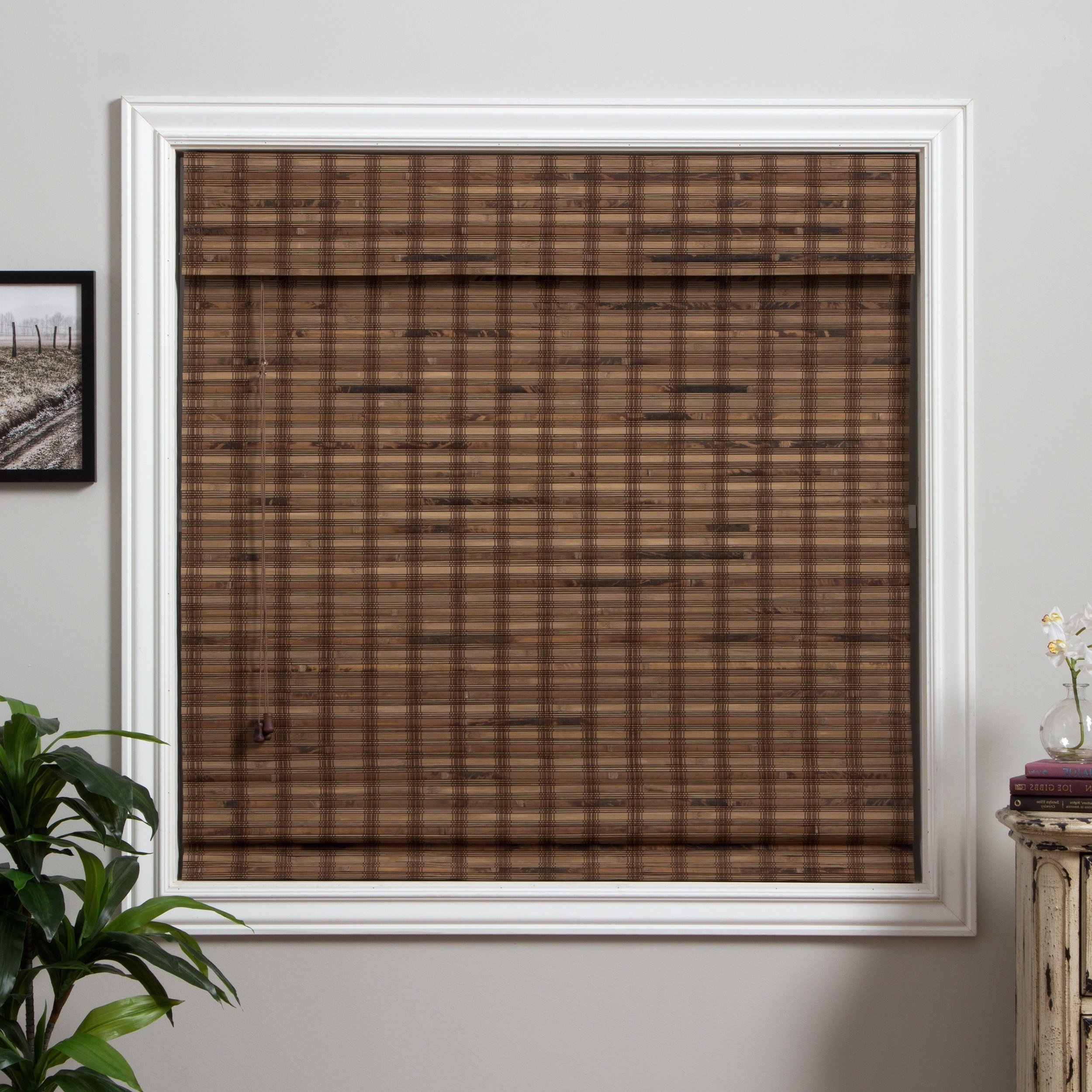 1 Piece 73''Wx74''L Multi Black Grain Brown Ochre Tan Natural Wood Pull Up Bamboo Blind Eco Friendly Rustic Roman Horizontal Slat With Built In Valance Nature Window Treatment Allows Gentle Sunlight