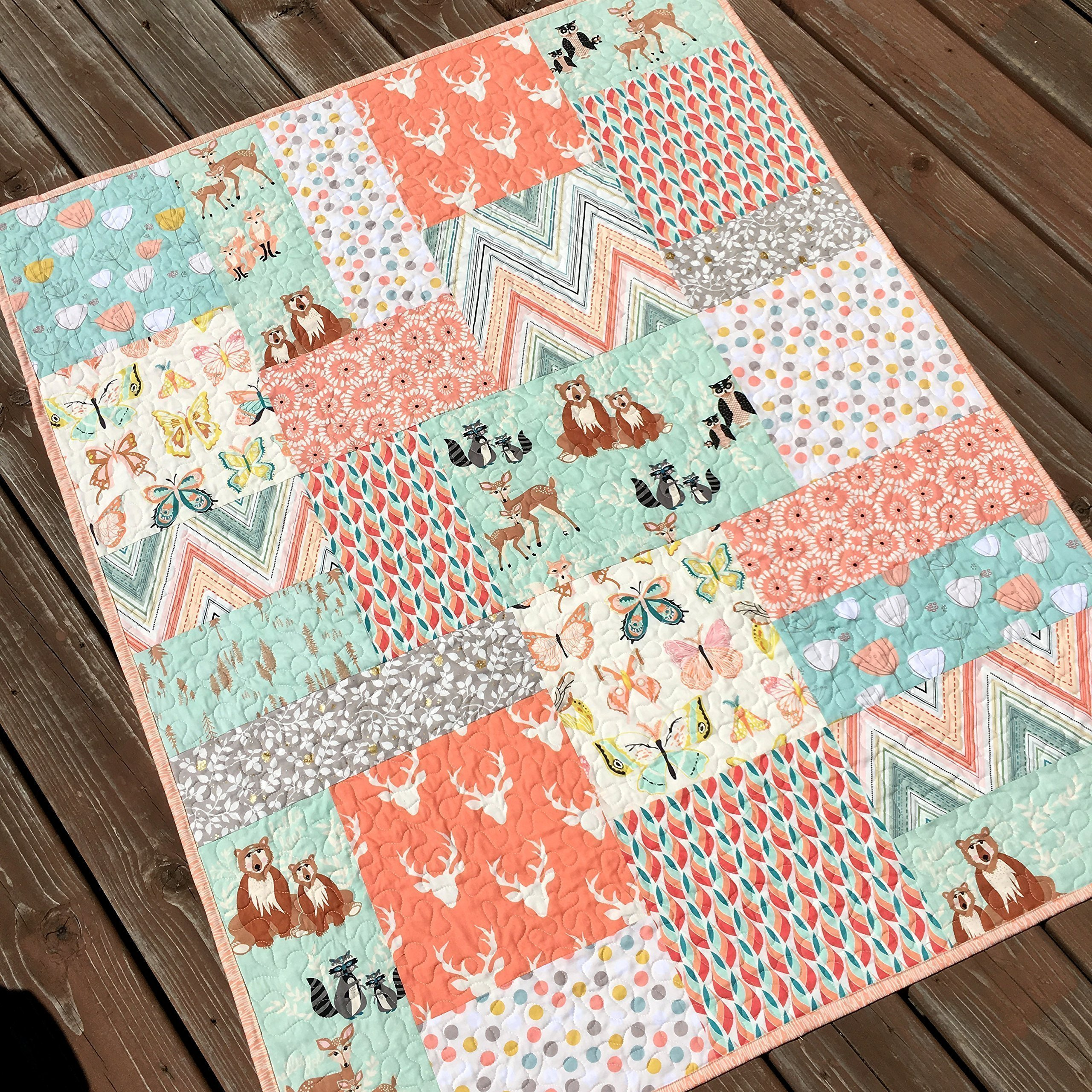 Woodland Baby Girl Quilt Handmade Big Block Patchwork Mint Peach Deer Bear Butterflies Forest Animals by Carlene Westberg Designs