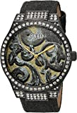 GUESS Women's U0844L1 Sporty Black Watch with Gold Dial , Crystal-Accented Bezel and Genuine Leather Strap Buckle