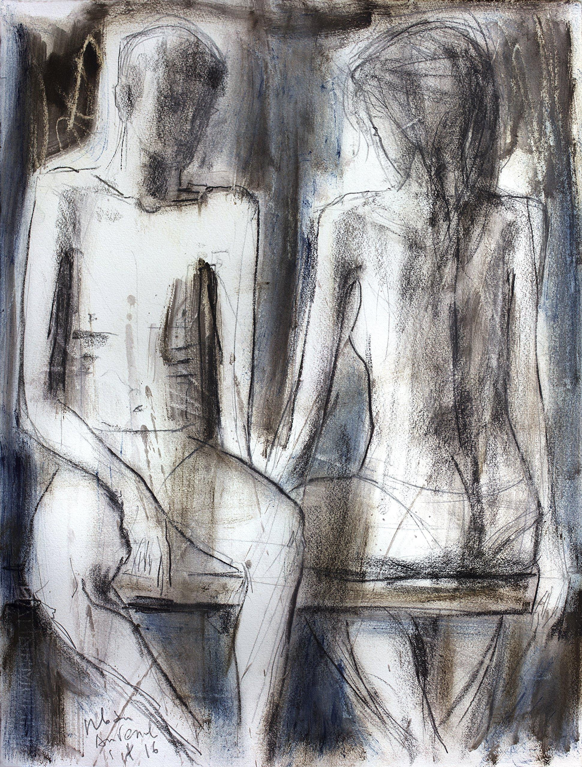 Couple Charcoal drawing Original Artistic sketch Nude Modern Figurative graphic art Woman Wall decor