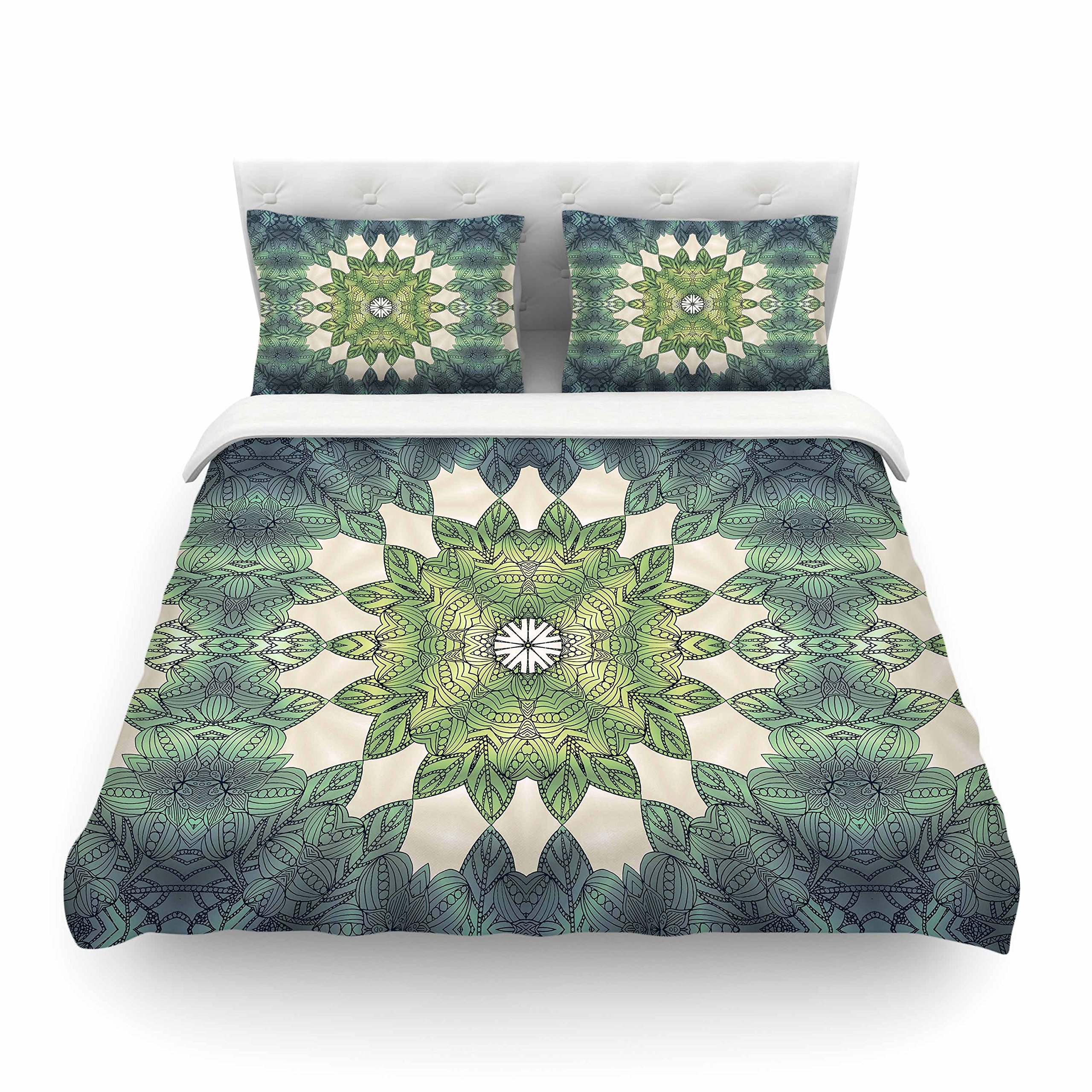 KESS InHouse Art Love Passion ''Forest Leaves Repeat'' Green Teal Geometric King Cotton Duvet Cover, 104 x 88''