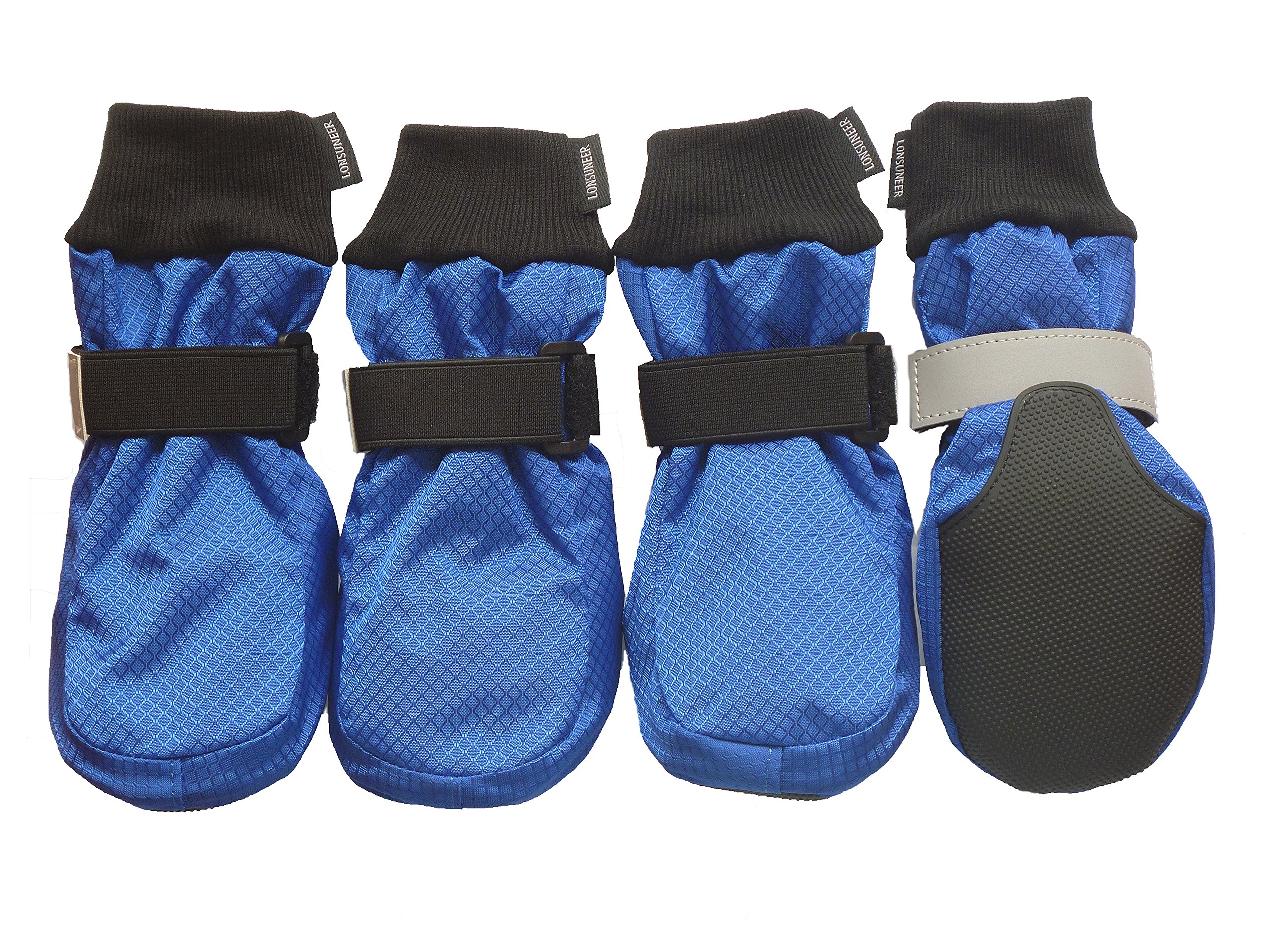LONSUNEER Winter Paw Protector Dog Boots Waterproof Soft Sole and Nonslip Set of 4 Color Blue Size XL by LONSUNEER