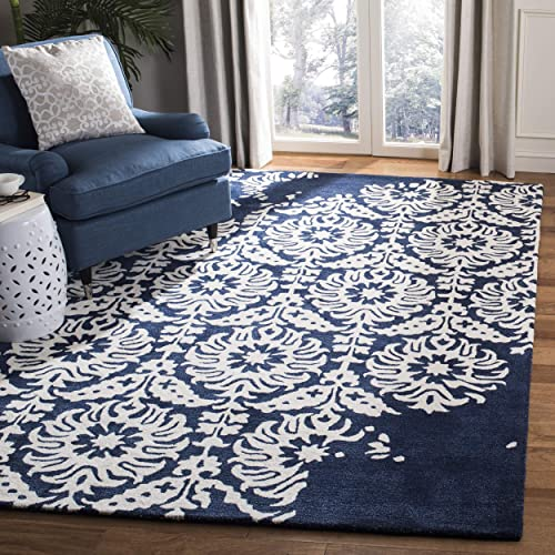 Safavieh Bella Collection BEL125D Handmade Navy and Ivory Premium Wool Area Rug 4 x 6