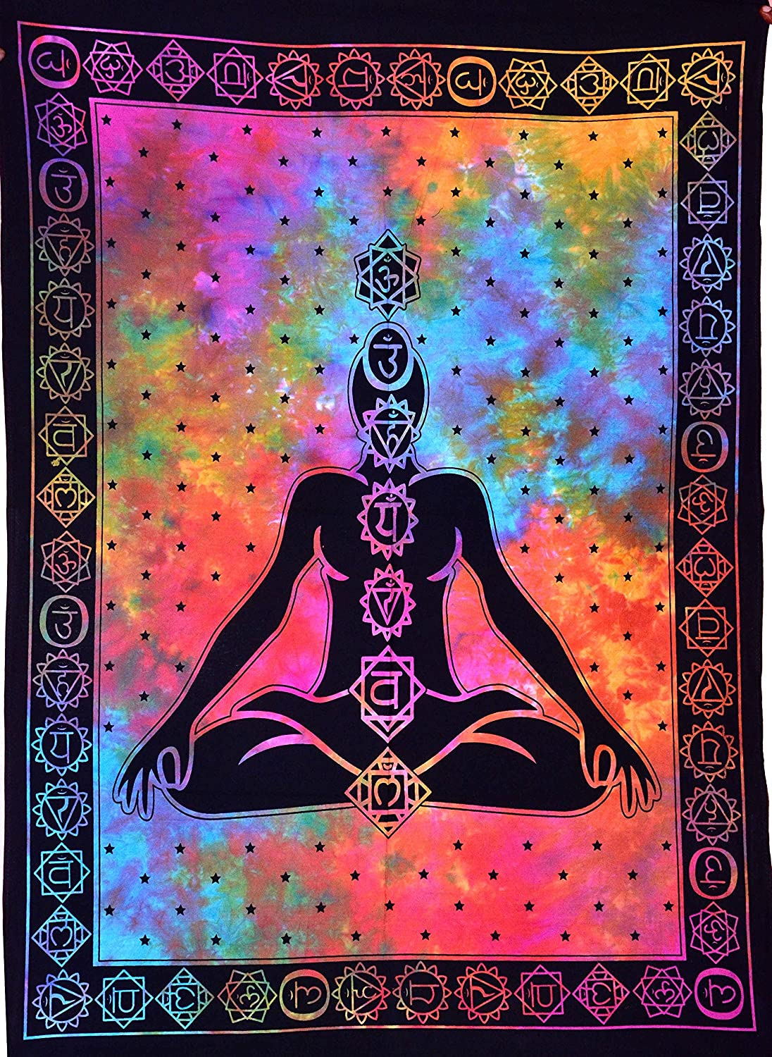 Seven Chakra Buddha Yoga Meditation Studio Room Decorations Tie Dye Hippie Psychedelic Small Tapestry Poster 7 chakras tapestries Meditating Peace Wall Art Hanging Decor (Multi, 30X40 inches)