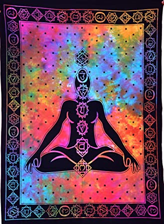 Anjaniya Seven Chakra Buddha Yoga Meditation Studio Room Decoration Tie Dye  Hippie Psychedelic Small Tapestry Poster 101.6 x 76.2 cm 7 Chakras ...
