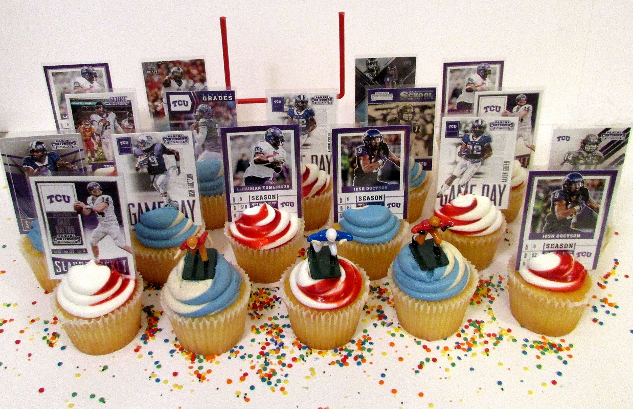 Texas Christian University TCU Horned Frogs Football Birthday Party Cupcake Topper Party Favor Set