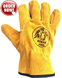 Work Leather Gloves, for Men & Women, Working, Wood Cutting, Mechanic, Gardening, Driving, Welding, Heavy Duty Gloves to Protect Hands from Scratches, Injuries, Leather Working Gloves