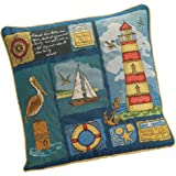 Home Décor Pillows 2 TAPESTRY COTTON VELVET SEAGULL BEACH HUT SAND SEA GOLD BLUE CUSHION COVERS 18