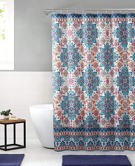 Amazon.com: Bright Boho Aqua Blue Orange Fabric Shower Curtain: Colorful Floral Mandala Design on Distressed Style Background, 72