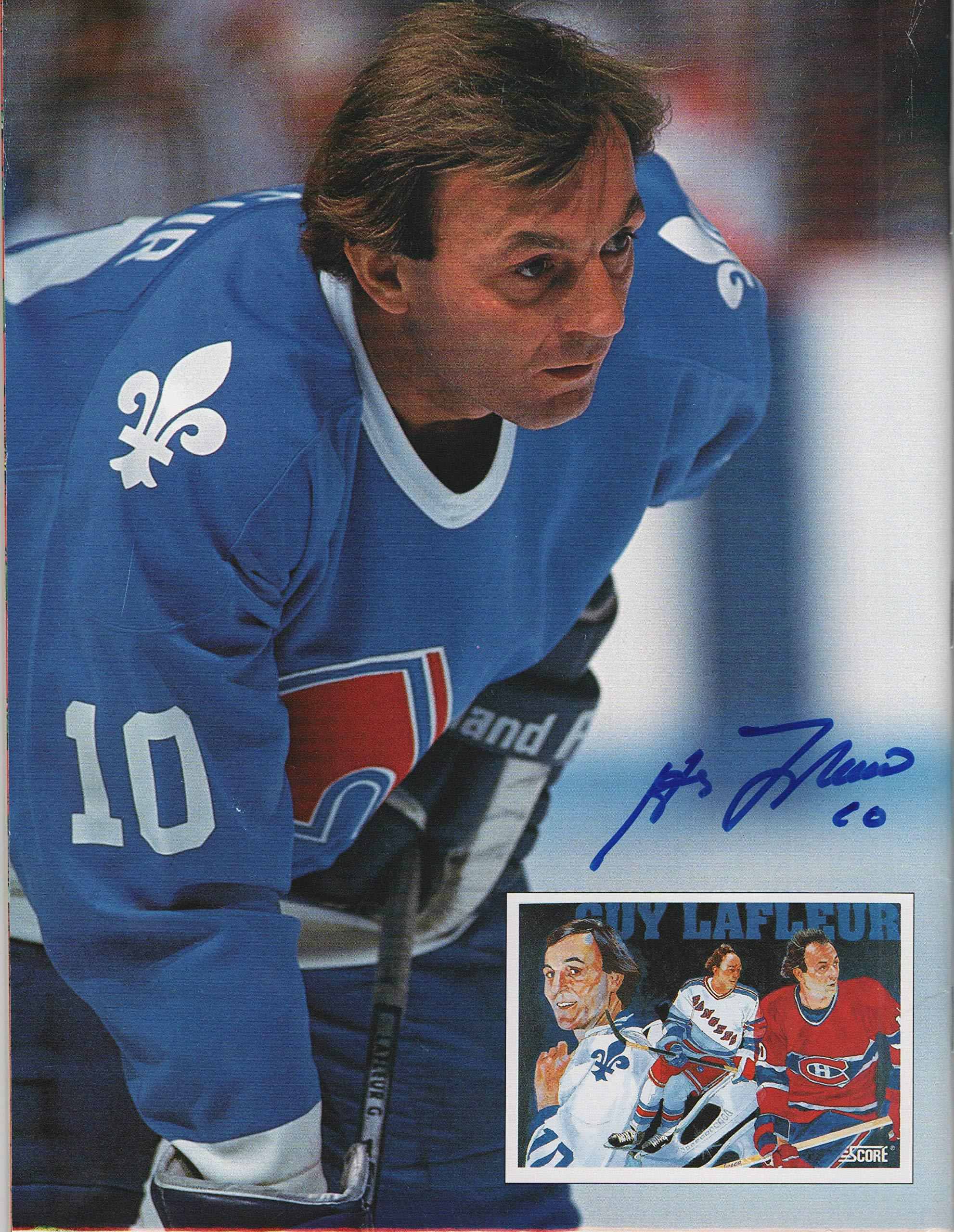 Guy Lafleur Hand Signed 8 x 11 Beckett Hockey Monthly Magazine Signed on Back Cover in Blue Felt Pen