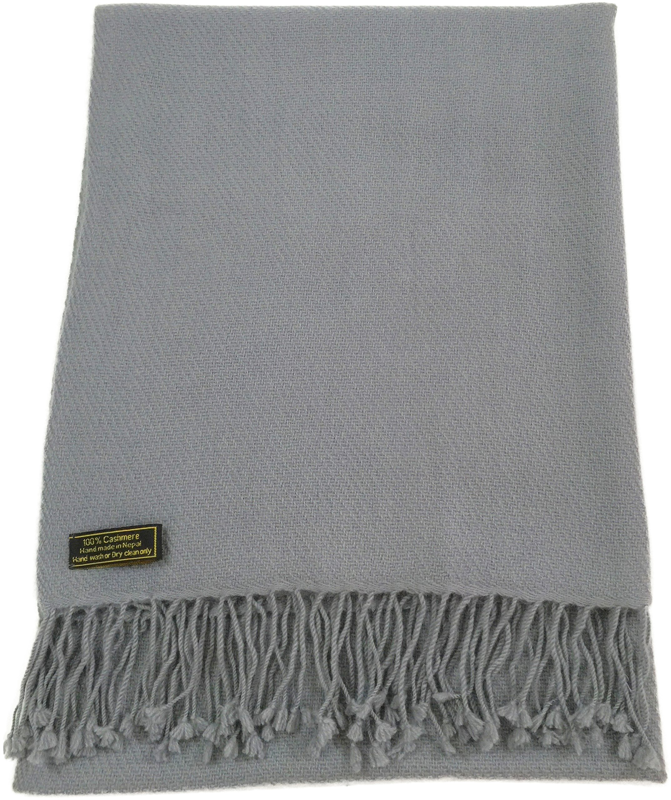 Light Grey High Grade 100% Cashmere Shawl Scarf Wrap Hand Made from Nepal NEW