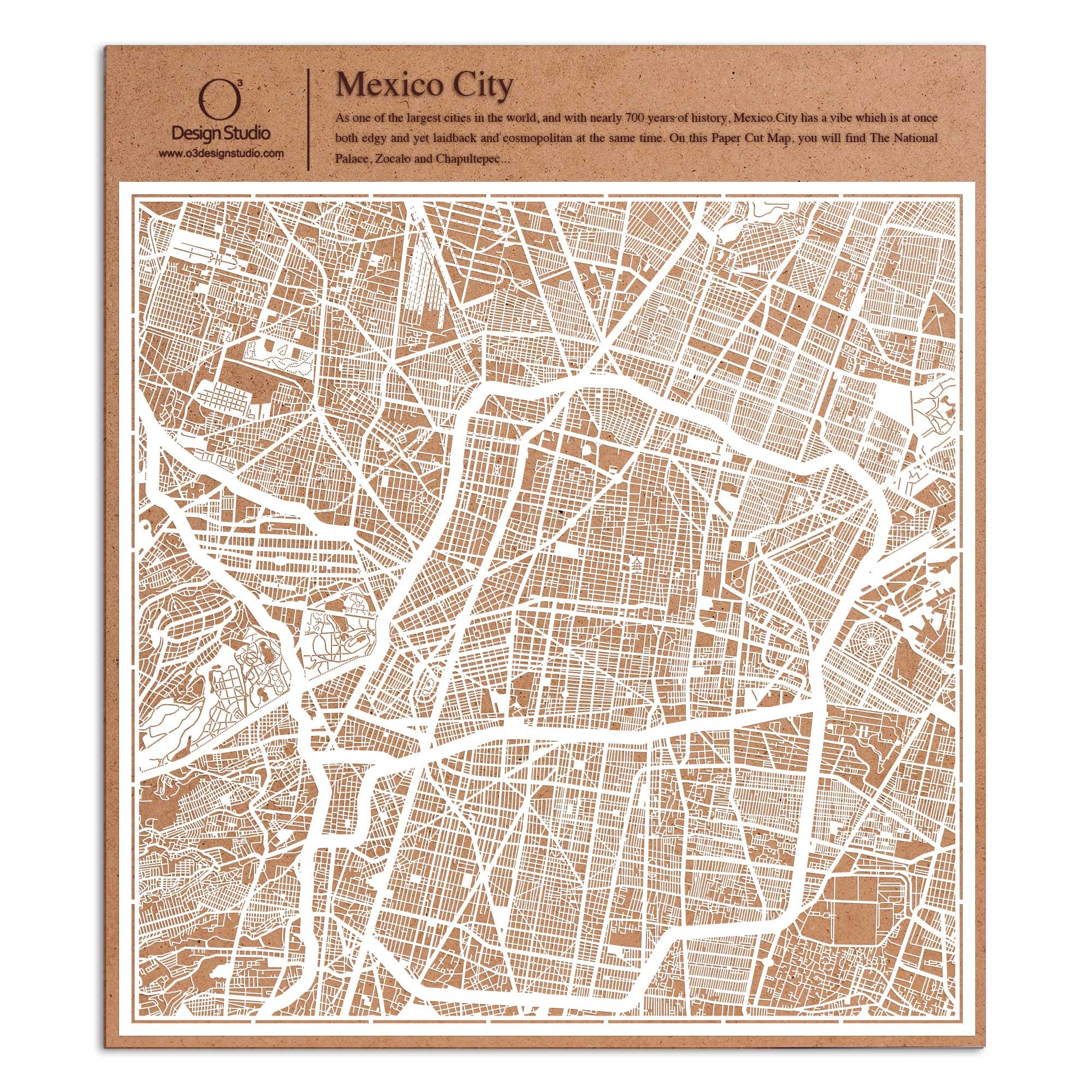 Mexico City Paper Cut Map by O3 Design Studio White 12x12 inches Paper Art
