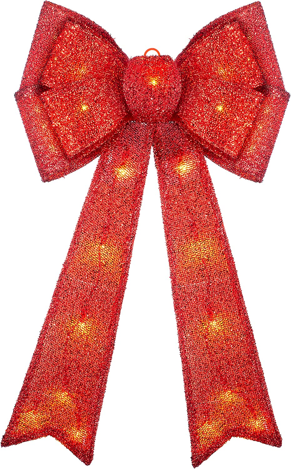 1cm Multi-Colour WeRChristmas Large Christmas Bow Decoration with 25 Chasing Warm LED Lights